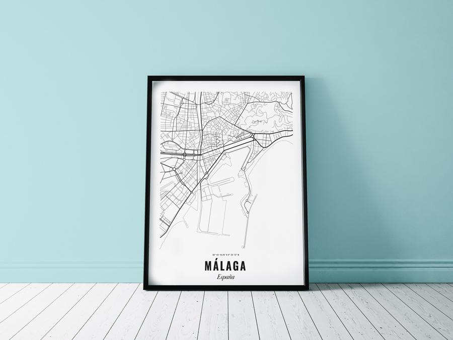 Poster Malaga kaart stad